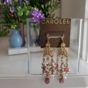 Carolee Pink and Gold Floral Chandelier Earrings
